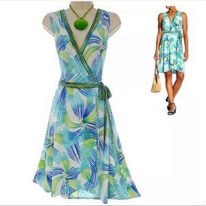 18W 2X▪️PRINT TULIP HEM FAUX-WRAP DRESS Plus Size